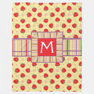 Bright Strawberry Swirl Pattern With Initial Fleece Blanket