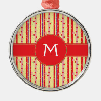 Bright Strawberry Swirl Stripes Pattern - Initial Christmas Ornament