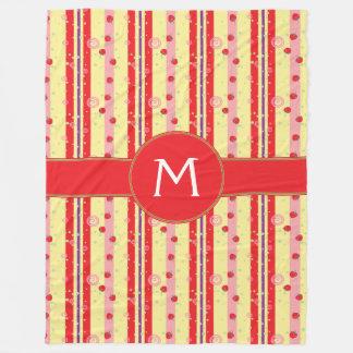 Bright Strawberry Swirl Stripes Pattern - Initial Fleece Blanket