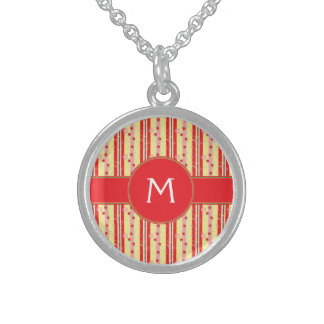Bright Strawberry Swirl Stripes Pattern - Initial Sterling Silver Necklace