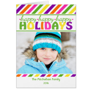 BRIGHT Stripes Colorful Christmas Card