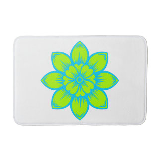 Bright Summer Blue and Green Flower Bath Mats