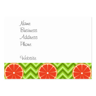 Bright Summer Citrus Grapefruits on Green Chevron Pack Of Chubby Business Cards