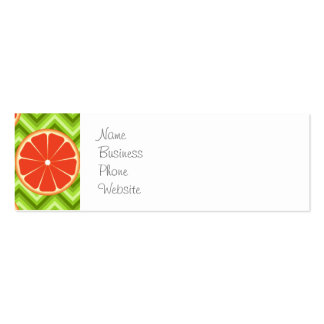 Bright Summer Citrus Grapefruits on Green Chevron Pack Of Skinny Business Cards