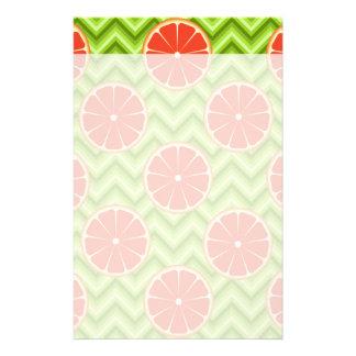 Bright Summer Citrus Grapefruits on Green Chevron Stationery Design