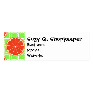 Bright Summer Citrus Grapefruits on Green Squares Pack Of Skinny Business Cards
