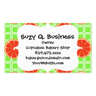 Bright Summer Citrus Grapefruits on Green Squares Pack Of Standard Business Cards