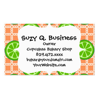 Bright Summer Citrus Limes on Coral Square Tiles Business Cards
