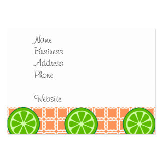 Bright Summer Citrus Limes on Coral Square Tiles Pack Of Chubby Business Cards