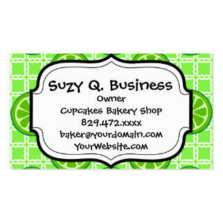Bright Summer Citrus Limes on Green Square Tiles Business Card Templates