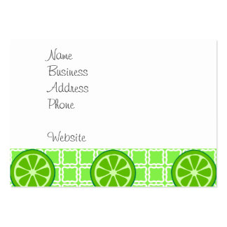 Bright Summer Citrus Limes on Green Square Tiles Large Business Cards (Pack Of 100)