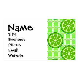 Bright Summer Citrus Limes on Green Square Tiles Business Cards