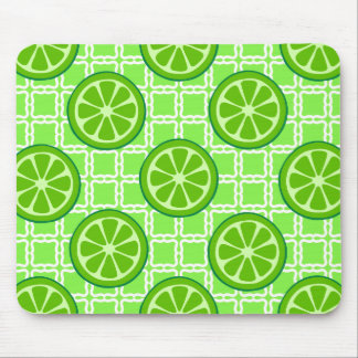 Bright Summer Citrus Limes on Green Square Tiles Mouse Pad