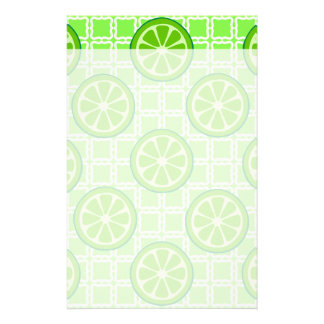 Bright Summer Citrus Limes on Green Square Tiles Stationery