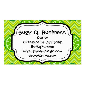Bright Summer Citrus Limes on Green Yellow Chevron Business Card Template