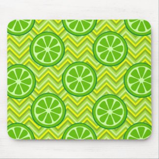 Bright Summer Citrus Limes on Green Yellow Chevron Mouse Pad