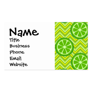 Bright Summer Citrus Limes on Green Yellow Chevron Pack Of Standard Business Cards