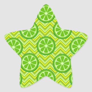 Bright Summer Citrus Limes on Green Yellow Chevron Sticker