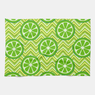Bright Summer Citrus Limes on Green Yellow Chevron Tea Towel