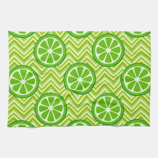 Bright Summer Citrus Limes on Green Yellow Chevron