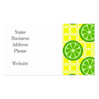 Bright Summer Citrus Limes on Yellow Square Tiles Double-Sided Standard Business Cards (Pack Of 100)