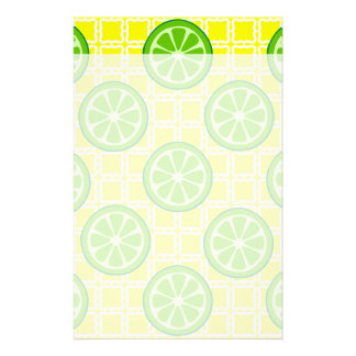 Bright Summer Citrus Limes on Yellow Square Tiles Customized Stationery