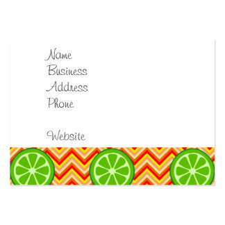 Bright Summer Citrus Limes Orange Yellow Chevron Pack Of Chubby Business Cards