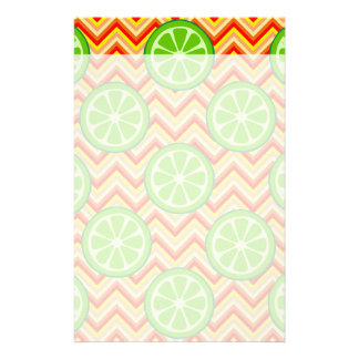 Bright Summer Citrus Limes Orange Yellow Chevron Customized Stationery