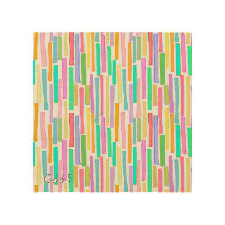 Bright summer colors modern art stripes pattern wood canvas
