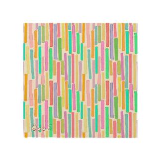 Bright summer colors modern art stripes pattern wood canvas