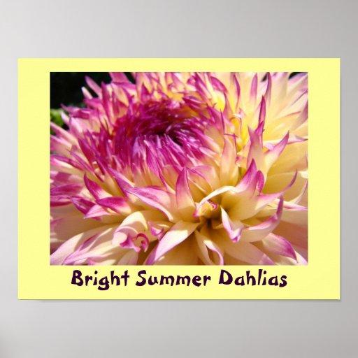 Bright Summer Dahlias art prints Purple Dahlia Poster