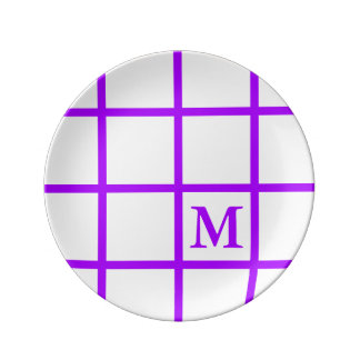 Bright Summer Grape Lattice Stripes Monogram Porcelain Plates