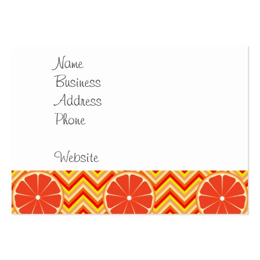 Bright Summer Grapefruit on Orange Yellow Chevron Business Card Template