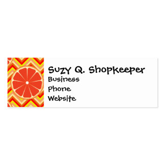 Bright Summer Grapefruit on Orange Yellow Chevron Double-Sided Mini Business Cards (Pack Of 20)