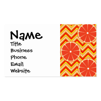Bright Summer Grapefruit on Orange Yellow Chevron Double-Sided Standard Business Cards (Pack Of 100)