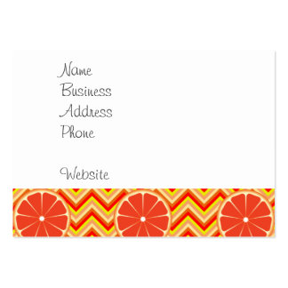 Bright Summer Grapefruit on Orange Yellow Chevron Pack Of Chubby Business Cards