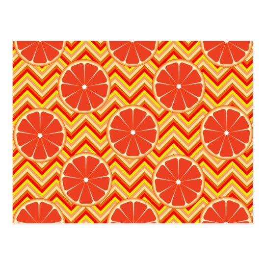 Bright Summer Grapefruit on Orange Yellow Chevron Postcard