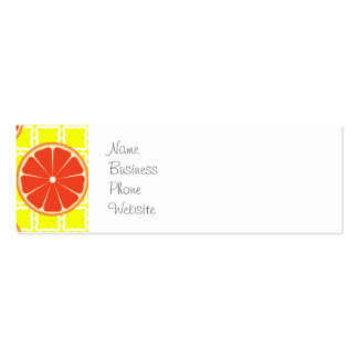 Bright Summer Grapefruits on Lemon Yellow Squares Double-Sided Mini Business Cards (Pack Of 20)