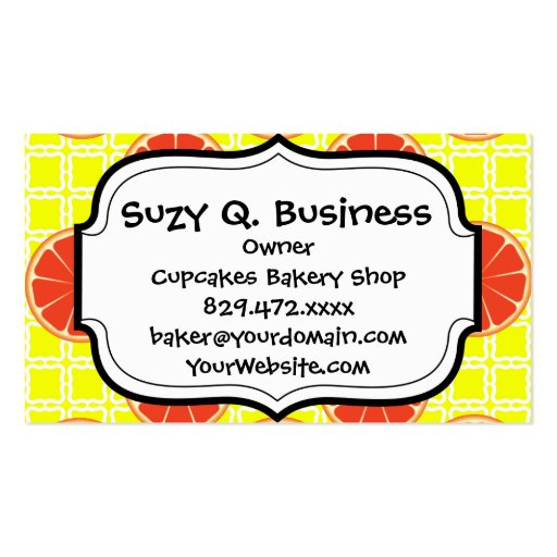 Bright Summer Grapefruits on Lemon Yellow Squares Business Cards