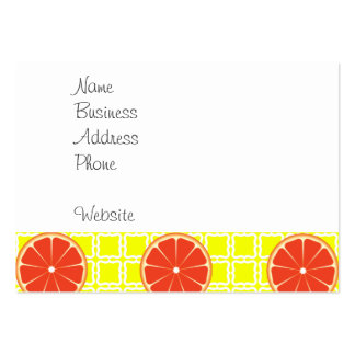 Bright Summer Grapefruits on Lemon Yellow Squares Pack Of Chubby Business Cards
