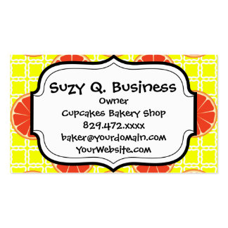 Bright Summer Grapefruits on Lemon Yellow Squares Pack Of Standard Business Cards