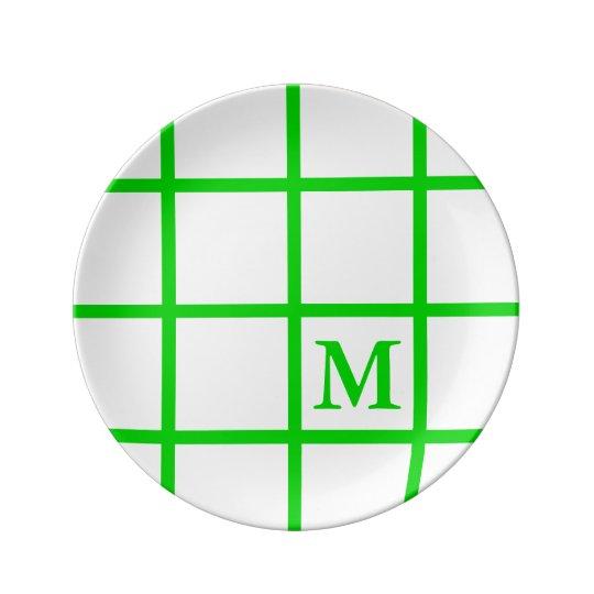 Bright Summer Green Lattice Stripes Monogram Plate