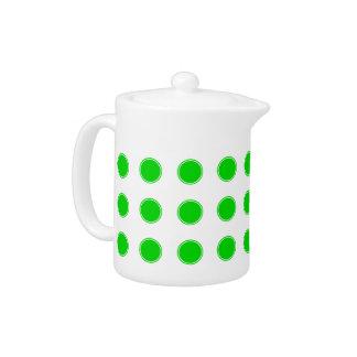Bright Summer Green Polka Dots on White