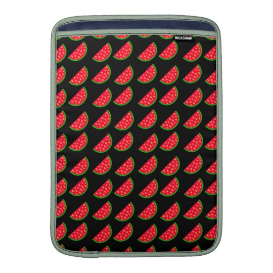 Bright Summer Picnic Watermelons on black backgrou Sleeves For MacBook Air