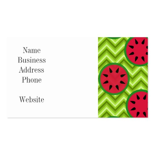 Bright Summer Picnic Watermelons on Green Chevron Business Card Template