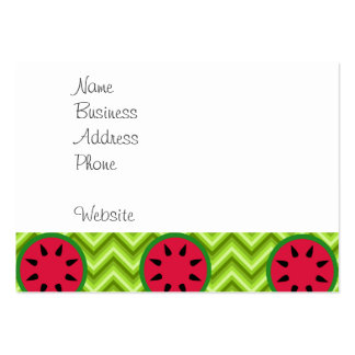 Bright Summer Picnic Watermelons on Green Chevron Pack Of Chubby Business Cards