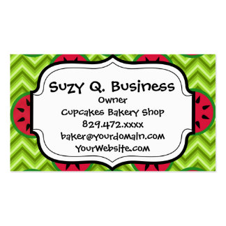 Bright Summer Picnic Watermelons on Green Chevron Pack Of Standard Business Cards