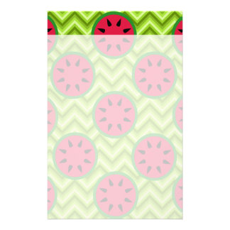 Bright Summer Picnic Watermelons on Green Chevron Stationery Design