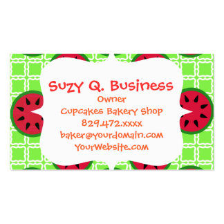 Bright Summer Picnic Watermelons on Green Squares Business Card Template