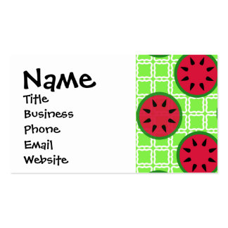 Bright Summer Picnic Watermelons on Green Squares Business Cards